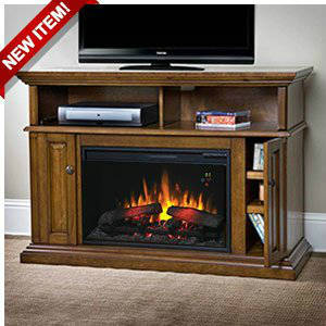 ChimneyFree Claremont 26 Inch Electric Fireplace Entertainment Center In Mahogany 26MM1904 M318