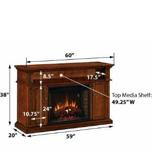 ChimneyFree Westhill 28 Inch Electric Fireplace Entertainment Center In Rose Cherry 28MM1620 240