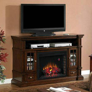 ClassicFlame Belmont 28 Inch Electric Fireplace Entertainment Center In Caramel Oak 28MM6240 O128