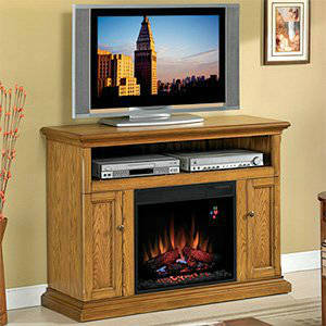 ClassicFlame Cannes 23 Inch Electric Fireplace Entertainment Center In  Antique Oak 23MM378 O103