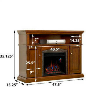Comfort Smart Lynwood 18 Inch Electric Fireplace Entertainment Center In Vintage Cherry 18MM4105 C233