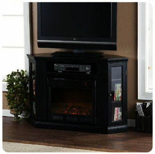 Claremont Media Console With Black Electric Fireplace