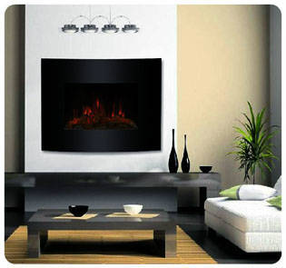 Frugah Black Fireplace Heater Electric Wall Mounted